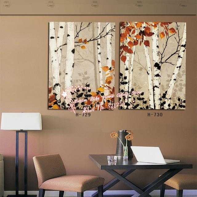 Modern Wall Art Home Decoration Printed Oil Painting Pictures 2 Within Birch Trees Canvas Wall Art (View 7 of 20)