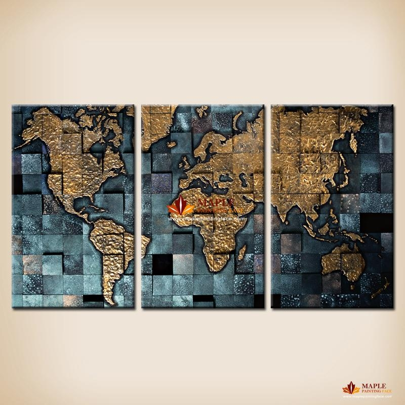 Modern Wall Art The Abstract World Map Painting On Canvas Canvas Within Maps Canvas Wall Art (Image 14 of 20)