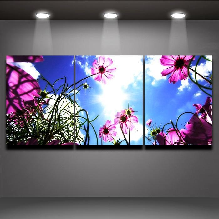 Modern Wall Painting Blue Sky Pink Flower Picture Printed On Pertaining To Murals Canvas Wall Art (Image 11 of 20)