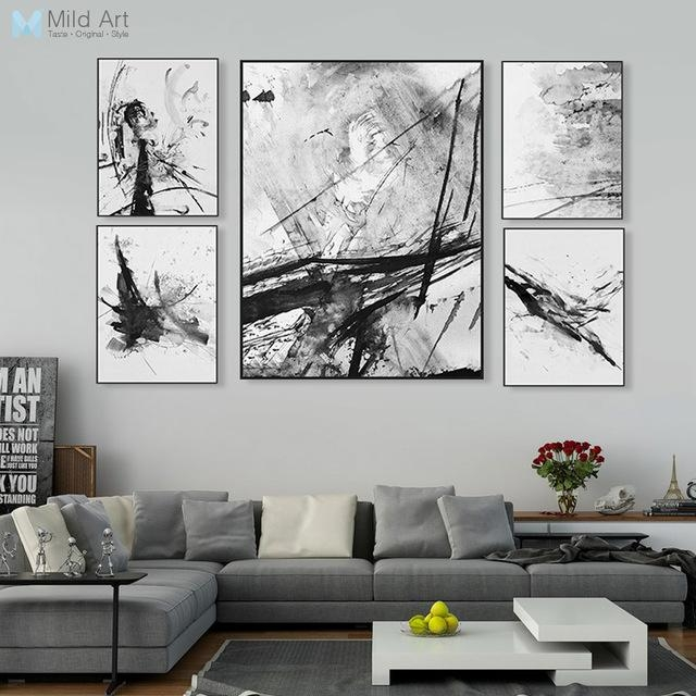 Modern Watercolor Abstract Ink Splash Big Canvas Art Poster Prints Intended For Abstract Wall Art Posters (Image 13 of 20)