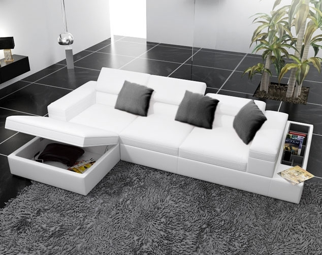 Modern White Leather Corner Sofas With Underneath Storage – Google For Sectional Sofas With Storage (View 5 of 10)