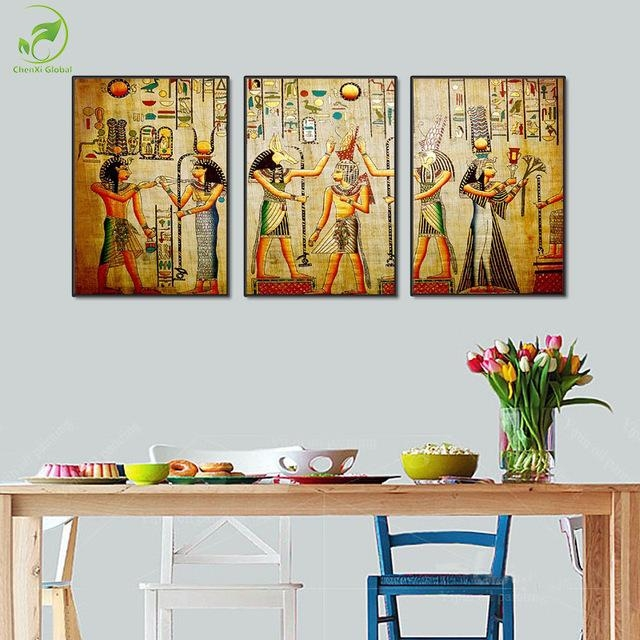 Modular 3Pcs Ancient Egypt Art Pictures Egyptian Figure Mural Inside Murals Canvas Wall Art (Image 12 of 20)