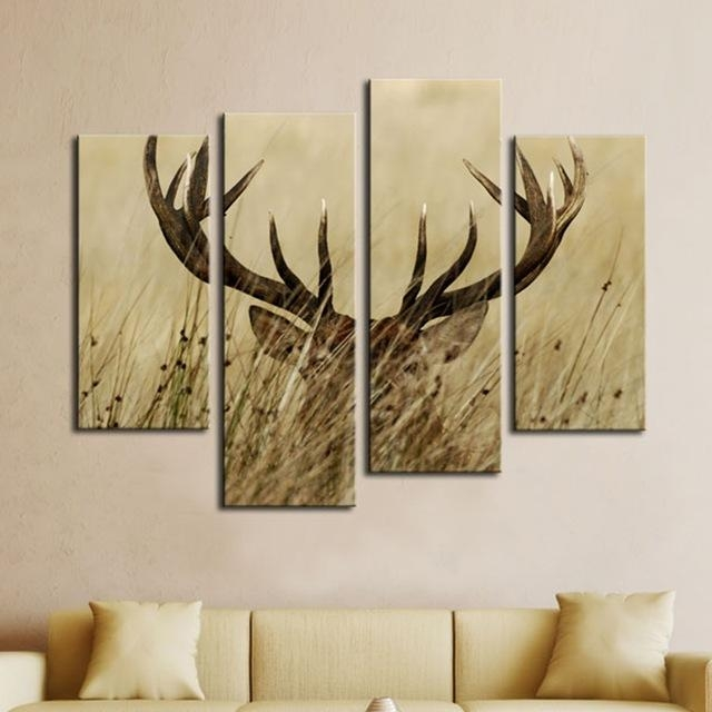 Modular Wall Art Canvas Pictures Home Decor Frames 4 Panels Deer Throughout Deer Canvas Wall Art (View 2 of 20)