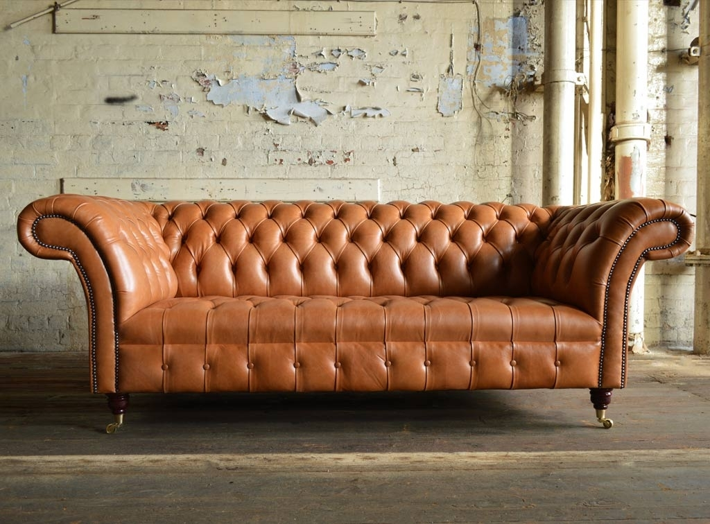 Montana Old English Tan Leather 3 Seater Chesterfield Sofa | Abode Sofas Pertaining To Leather Chesterfield Sofas (Image 6 of 10)