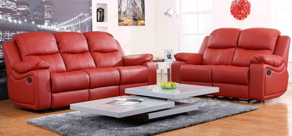 Montreal Rosso Red Reclining 3 + 2 Seater Leather Sofa Set Within Red Leather Sofas (Image 5 of 10)