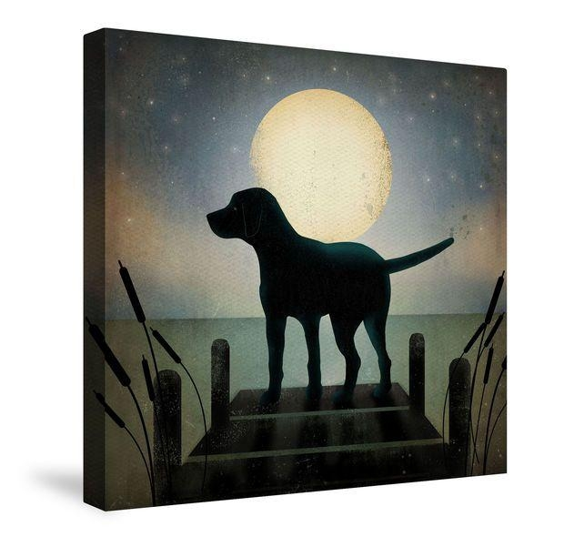Moonrise Black Dog Canvas Wall Art | Dogs And Animals | Pinterest With Dogs Canvas Wall Art (Image 17 of 20)