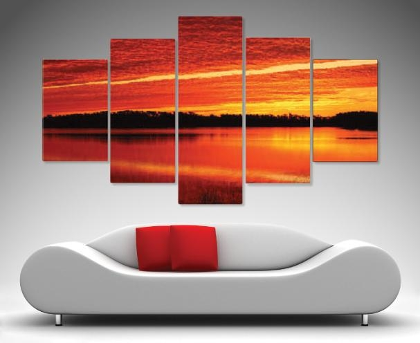 Morning Flames 5 Panel Wall Art – Canvas Prints Australia Throughout Brisbane Canvas Wall Art (View 3 of 20)