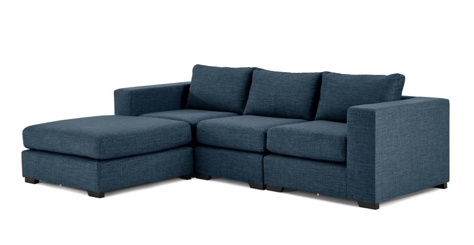 Mortimer 4 Seat Modular Corner Sofa, Harbour Blue | Made Within Modular Corner Sofas (Image 6 of 10)