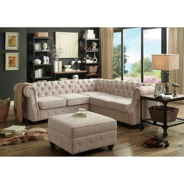 Moser Bay Furniture Olivia Tufted Sectional Sofa – Free Shipping Pertaining To Tufted Sectional Sofas (Image 4 of 10)