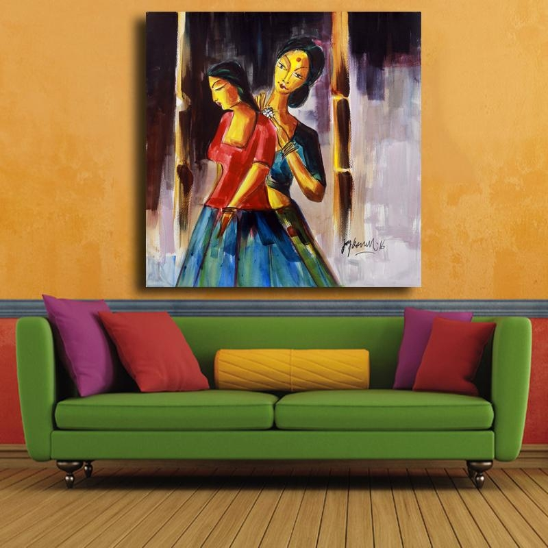 Mother And Daughter Inspirational Signed Painting From India Inside India Canvas Wall Art (Image 12 of 20)