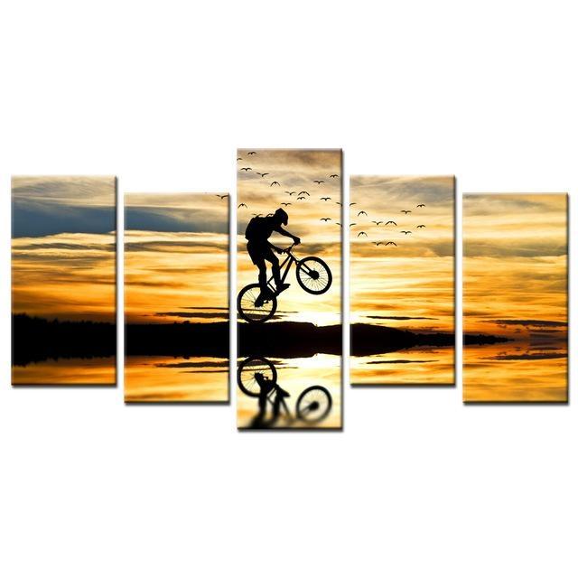 Mountain Bike Racing Canvas Wall Art Bike Jump Poster Prints Inside Jump Canvas Wall Art (Image 18 of 20)