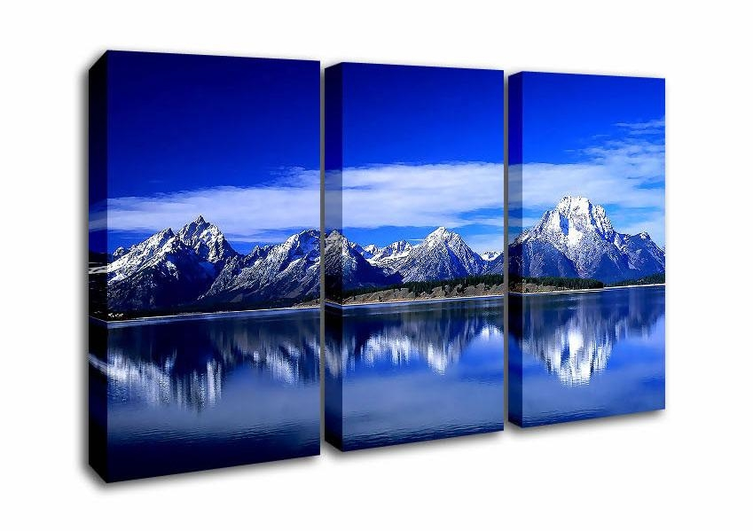 Mountain Three Panel Blue Mountains Reflecting In The Water Canvas Pertaining To Mountains Canvas Wall Art (Image 15 of 20)