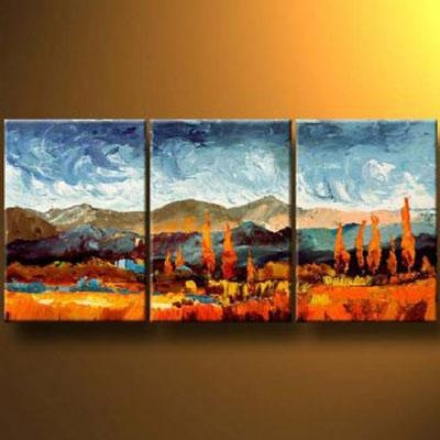 Mountains In Autumn Modern Canvas Art Wall Decor Landscape Oil For Mountains Canvas Wall Art (Image 16 of 20)