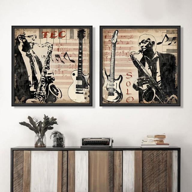 Musical Instrument Saxophone Men Portrait Pop Art Canvas Wall Art For Portrait Canvas Wall Art (Image 13 of 20)