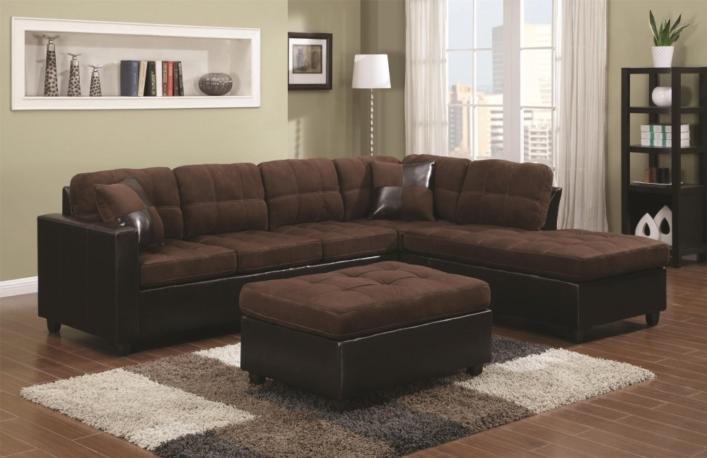 Mustang Chocolate Reversible Sectional | Sectionals | Seat N Sleep With Chocolate Sectional Sofas (Image 6 of 10)