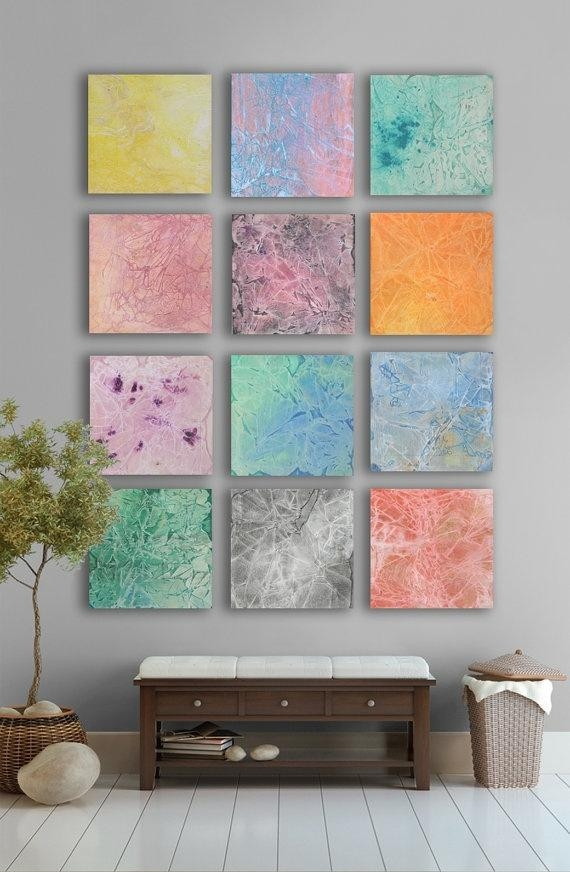 My Artwork  Multicolor Pastel Abstract Art Painting, – 11 Square Within Pastel Abstract Wall Art (View 7 of 20)