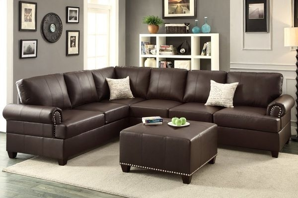 Nailhead Leather Sectional With Ottoman (Furniture) In Visalia, Ca Intended For Visalia Ca Sectional Sofas (Photo 9 of 10)