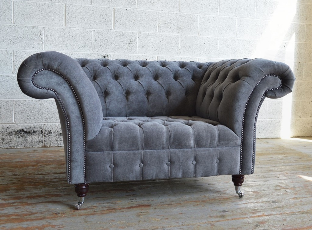 Naples Slate Grey Chesterfield Snuggle Chair | Abode Sofas In Snuggle Sofas (Image 7 of 10)