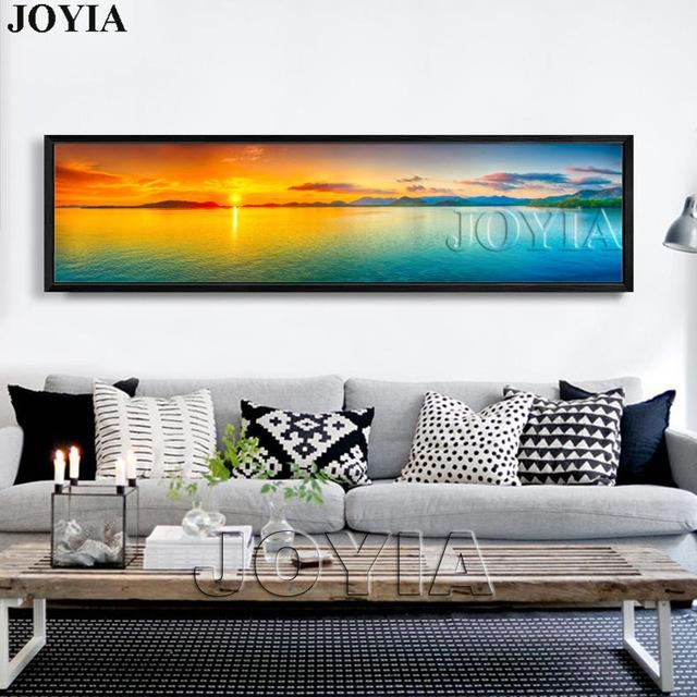 Nature Canvas Wall Art Landscape Painting Large Sunset Sea Inside Panoramic Canvas Wall Art (Photo 10 of 20)