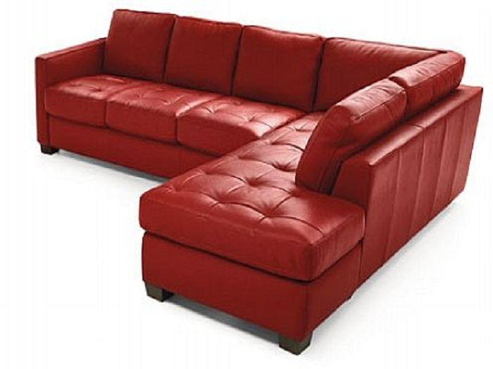 Natuzzi Italian Leather Sectional Sofa | Comqt Intended For Small Red Leather Sectional Sofas (Image 6 of 10)