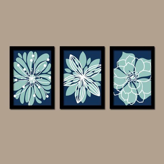 Navy Blue Aqua Wall Art Bedroom Pictures Canvas Or Prints For Navy Canvas Wall Art (View 13 of 20)