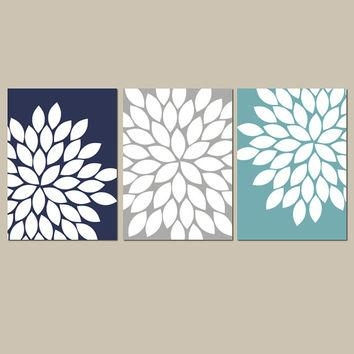 Navy Gray Teal Wall Art Bedroom Kitchen From Trm Design | Wall Pertaining To Navy Canvas Wall Art (Image 13 of 20)