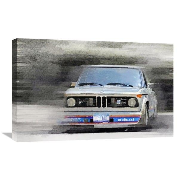 Naxart Studio '1974 Bmw 2002 Turbo Watercolor' Stretched Canvas Inside Bmw Canvas Wall Art (View 15 of 20)
