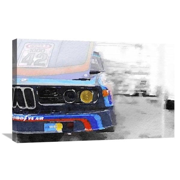 Naxart Studio 'bmw Lamp And Grill Watercolor' Stretched Canvas Inside Bmw Canvas Wall Art (Photo 12 of 20)