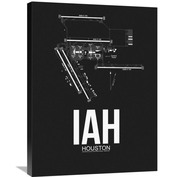 Naxart Studio 'iah Houston Airport Black' Stretched Canvas Wall With Regard To Houston Canvas Wall Art (Image 18 of 20)