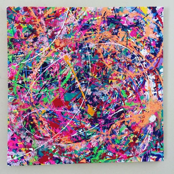 Neon Abstract Art Splatter Painting Colorful Canvas Art Large Throughout Abstract Neon Wall Art (Photo 18 of 20)