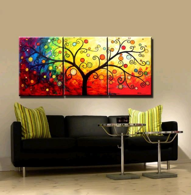 New 3 Piece Canvas Art Hand Painted Canvas Modern Abstract Tree With Regard To Abstract Canvas Wall Art Iii (Image 12 of 20)