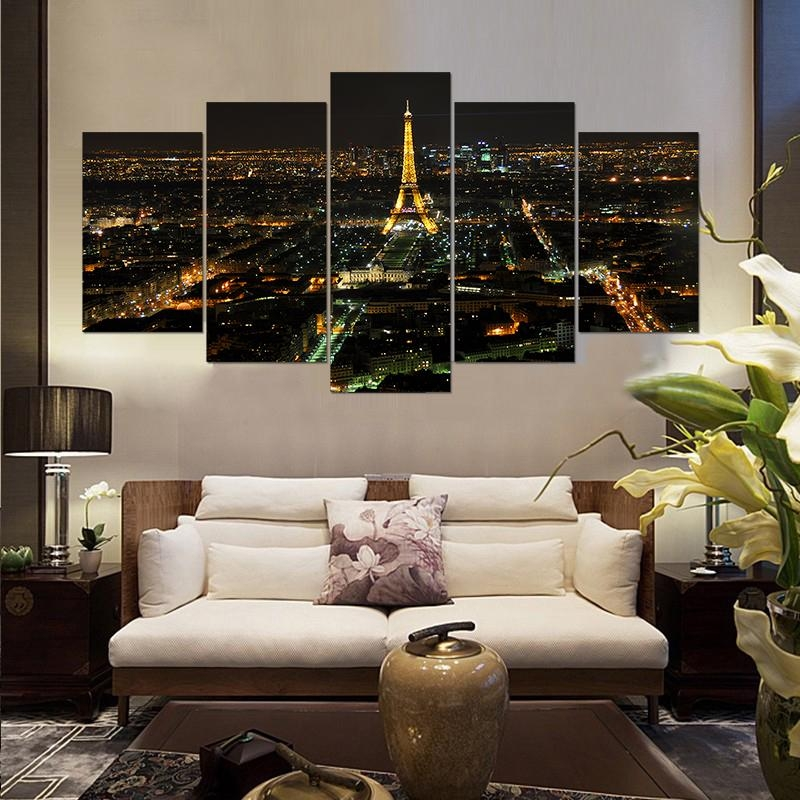 New 5 Pieces/sets Canvas Art Canvas Painting Night Paris Eiffel For Canvas Wall Art Of Paris (Image 10 of 20)
