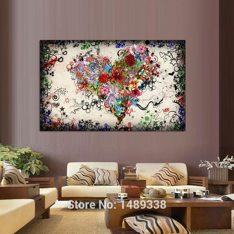 New Arrived Modern Wall Art Heart Flowers Painting On Canvas Inside Hearts Canvas Wall Art (Image 14 of 20)