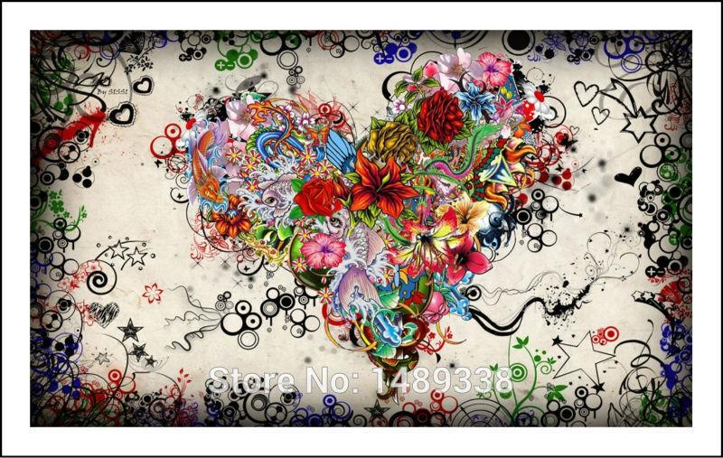 New Arrived Modern Wall Art Heart Flowers Painting On Canvas Within Hearts Canvas Wall Art (Image 15 of 20)