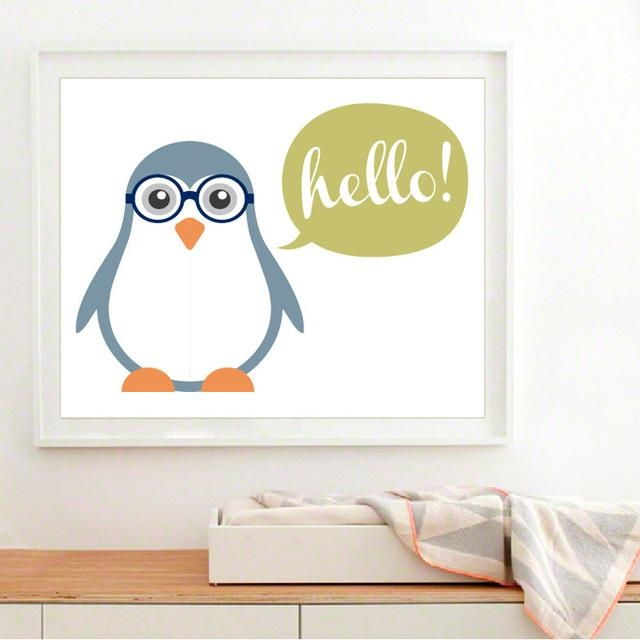 New Cute Baby Penguin Canvas Painting Art Modern Nursery Wall For Modern Nursery Canvas Wall Art (View 2 of 20)