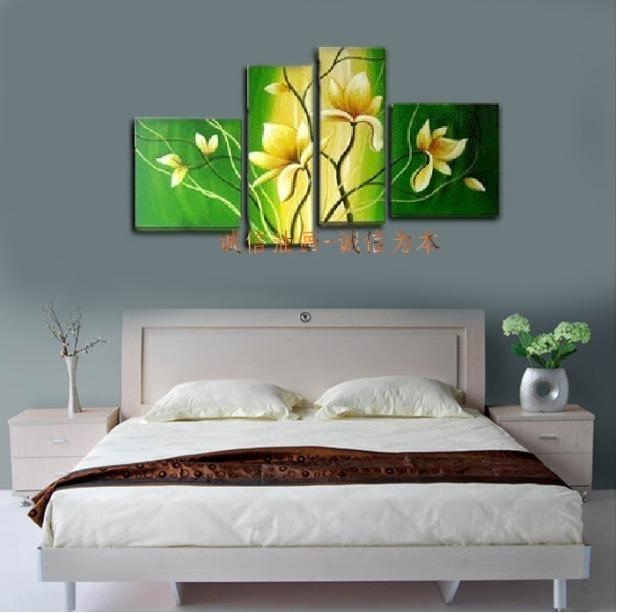 New Decorative Painting Handpainted Modern Yellow Flower Mural With Regard To Murals Canvas Wall Art (Image 14 of 20)
