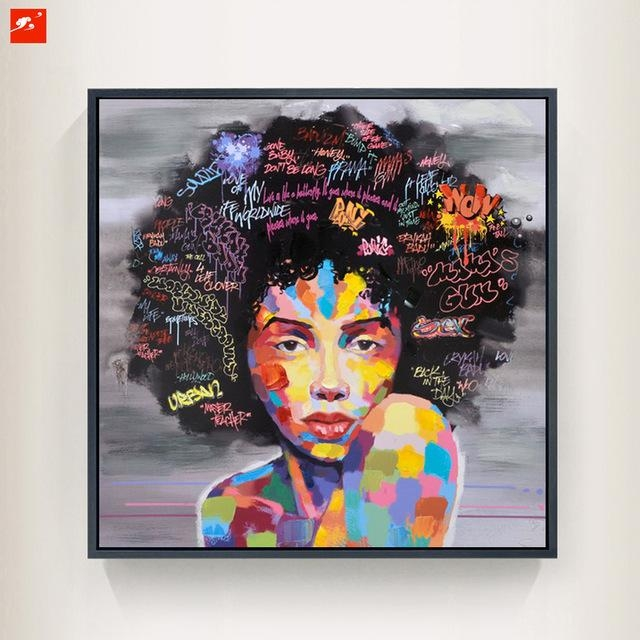 New Graffiti Street Wall Art Abstract Modern African Women Pertaining To Abstract Graffiti Wall Art (Image 16 of 20)