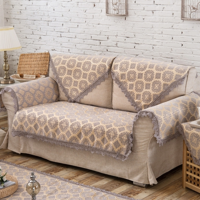 New Grey Europe Style Sofa Cover Armrest Slipcover Chenille Fabric Inside Sectional Sofas From Europe (View 8 of 10)