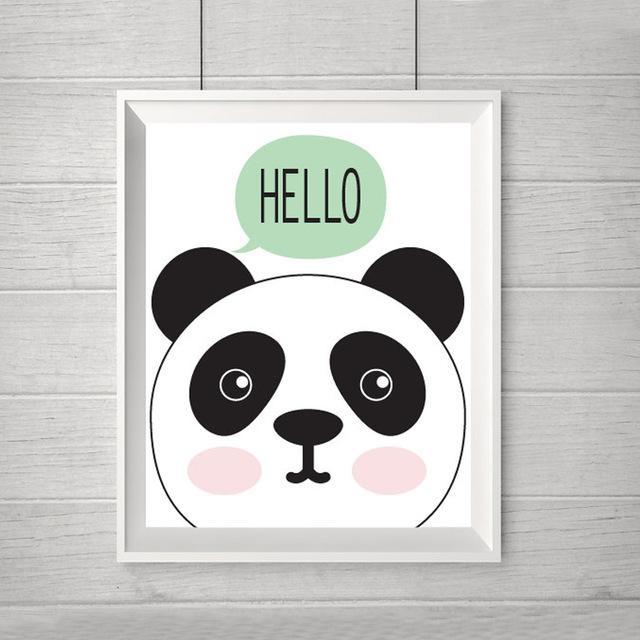New Hello Panda Cartoon Canvas Oil Painting Nursery Modern Wall Throughout Modern Nursery Canvas Wall Art (View 5 of 20)