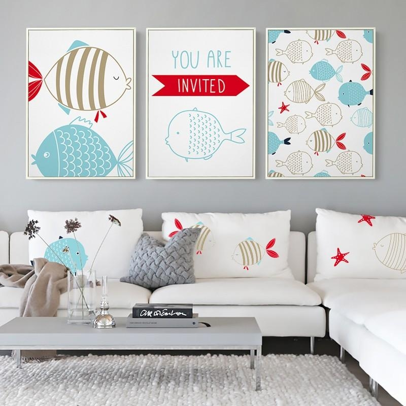 New Modern Nordic Cartoon Navigation Fish Print Nursery Wall Art Inside Modern Nursery Canvas Wall Art (Photo 6 of 20)
