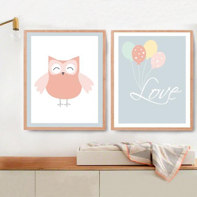 New Owl Love Balloon Canvas Painting Nursery Wall Art Little Room With Regard To Modern Nursery Canvas Wall Art (Photo 7 of 20)