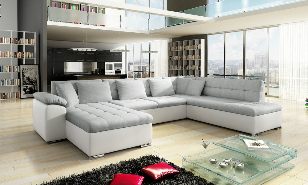 New Scafati Fabric And Leather Corner Sofa With Bed In Black Grey Regarding White Leather Corner Sofas (View 9 of 10)