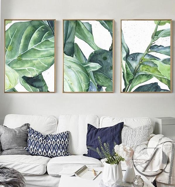 New Summer Green Leaves Wall Art Set Canvas Art Palm Tree Leaves Within Leaves Canvas Wall Art (Image 11 of 20)