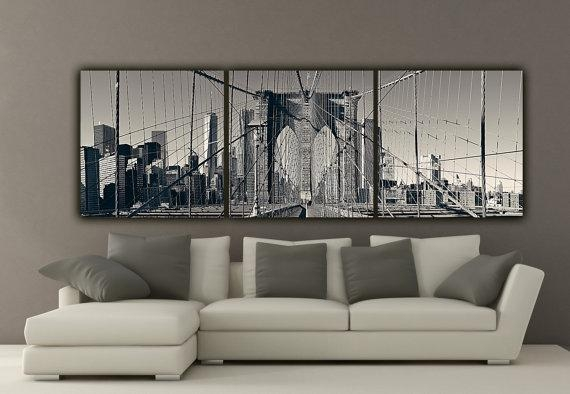 New York Brooklyn Bridge Canvas Wall Art Black And White New With Regard To Canvas Wall Art Of New York City (Photo 20 of 20)