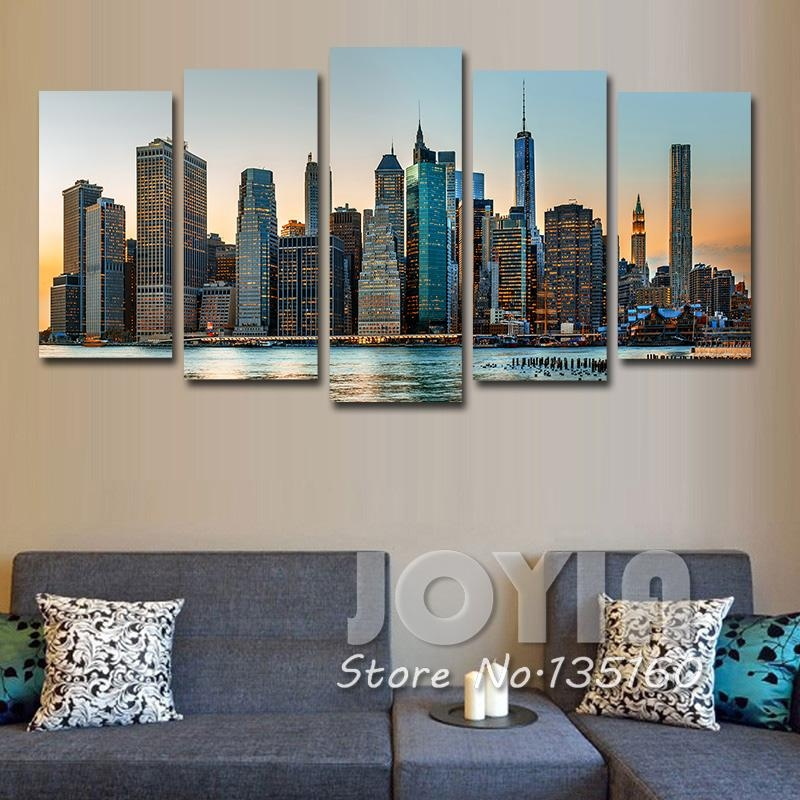 New York City Night Landscape Painting Modern Wall Decor Pictures Inside Canvas Wall Art Of New York City (Photo 7 of 20)