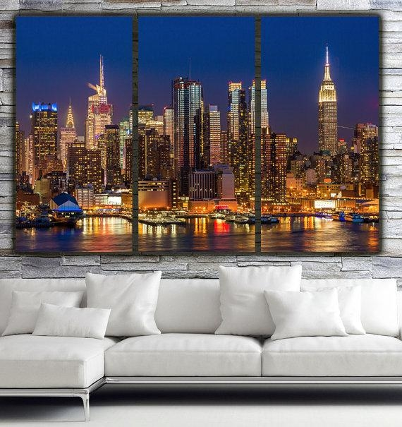 New York City Skyline Brilliant Night New York Canvas Art Intended For Canvas Wall Art Of New York City (Photo 5 of 20)