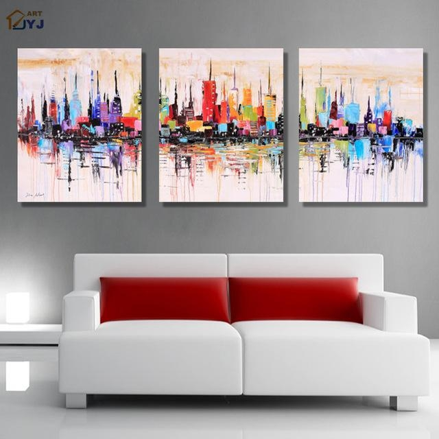 New York Modular Picture Art Hand Painted Palette Knife Abstract Inside Oil Paintings Canvas Wall Art (Image 9 of 20)