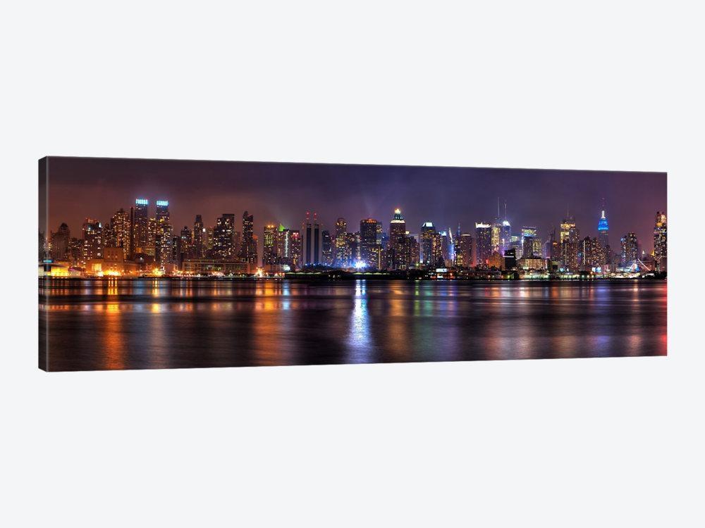 New York Panoramic Skyline Cityscape (Night) Art Print | Icanvas Within Panoramic Canvas Wall Art (Image 9 of 20)