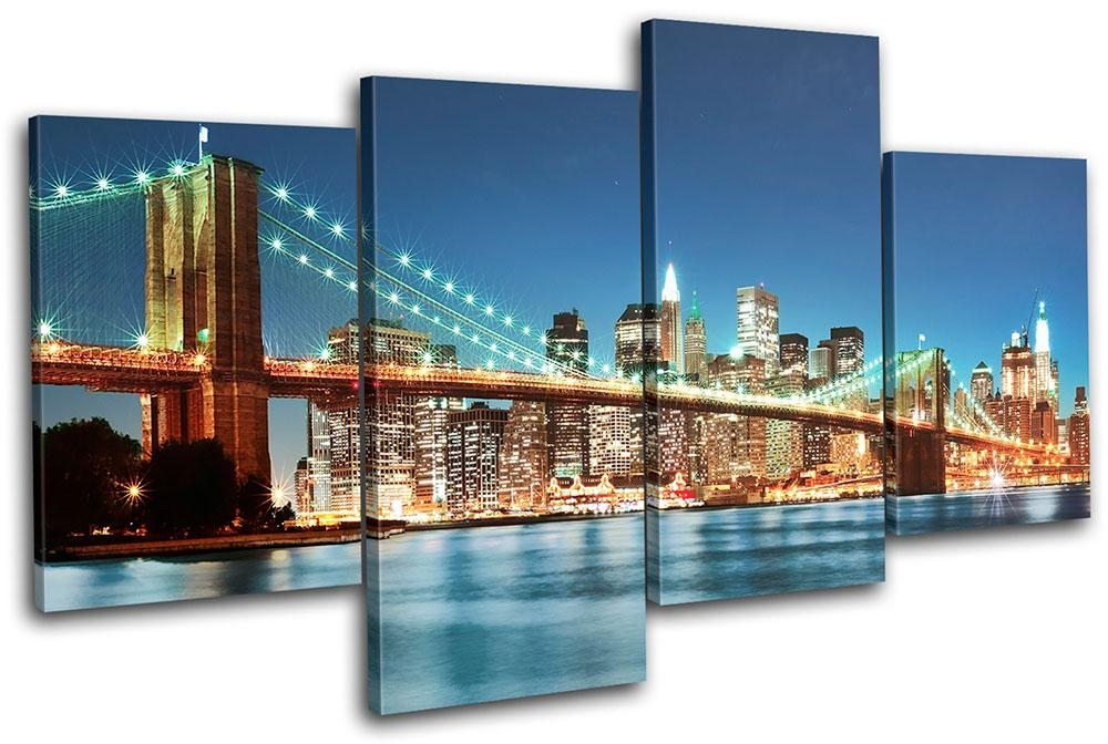 New York Skyline Bridge City Multi Canvas Wall Art Picture Print Regarding Canvas Wall Art Of New York City (Photo 3 of 20)