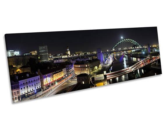 Newcastle Tyne Bridge Quayside Canvas Wall Art Panoramic Inside Newcastle Canvas Wall Art (Image 8 of 20)
